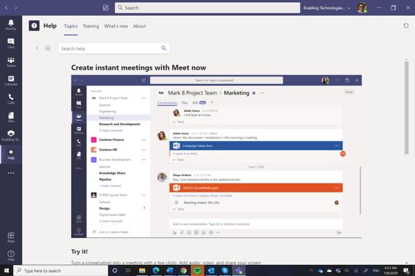 Meet Now in Microsoft Teams