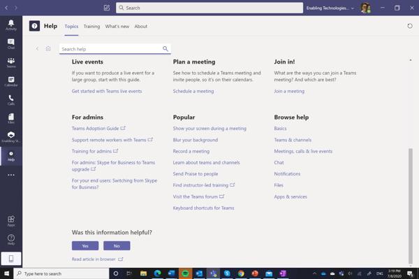 Topics Help in Microsoft Teams