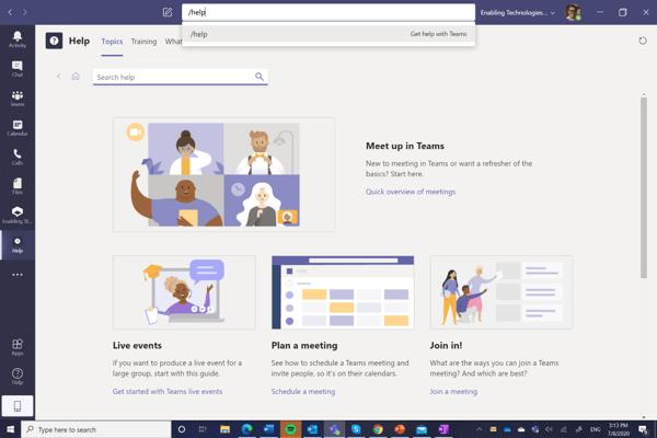 /Help for Microsoft Teams help