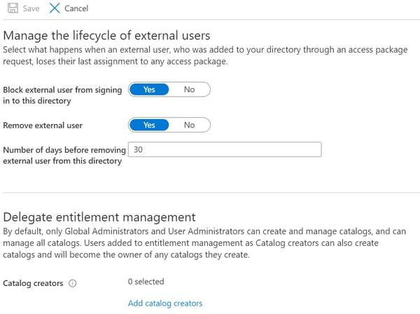 Entitlement Management Settings